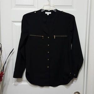 Calvin Klein Button Down zip pocket blouse Small